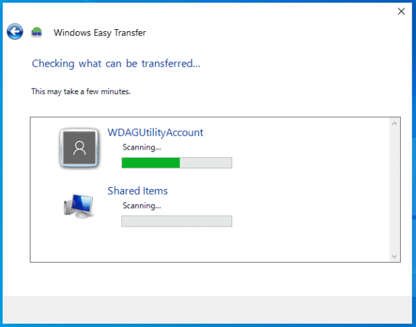 Windows Easy Transfer Wizard Checking what can be transferred