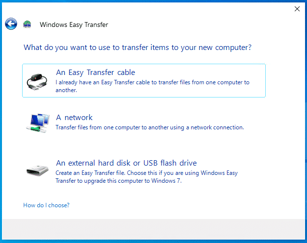 Windows Easy Transfer Wizard Options