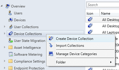 SCCM Create new Device Collection