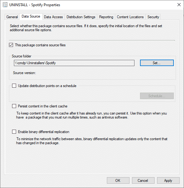 SCCM Package Source Information