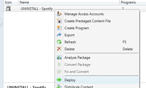 Deploy SCCM Package