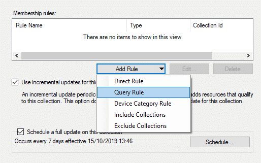 SCCM Add Rule Query Rule