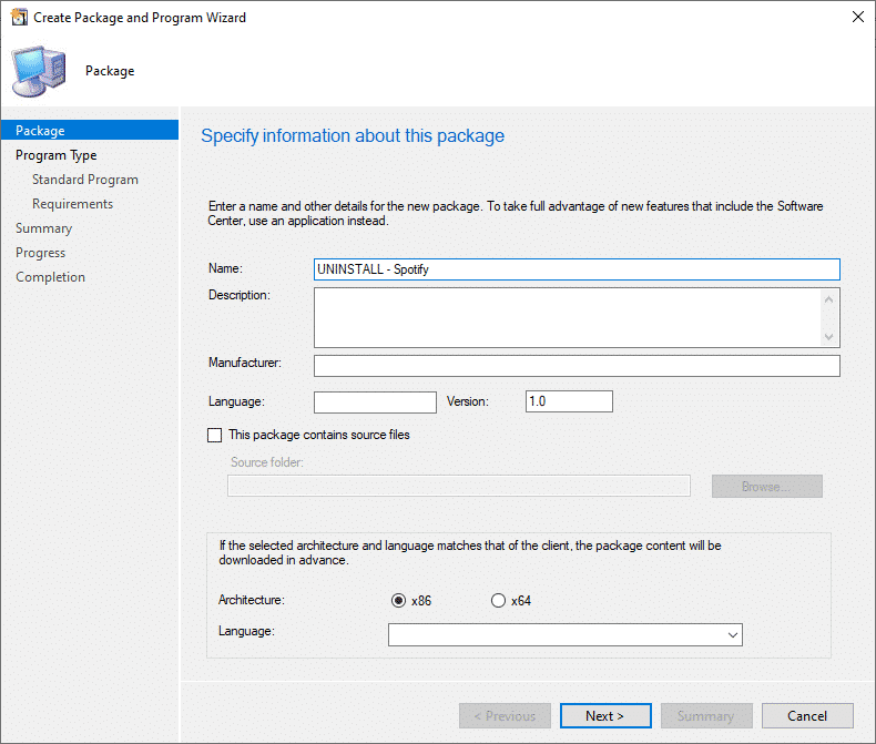 SCCM Create Package and Program Wizard