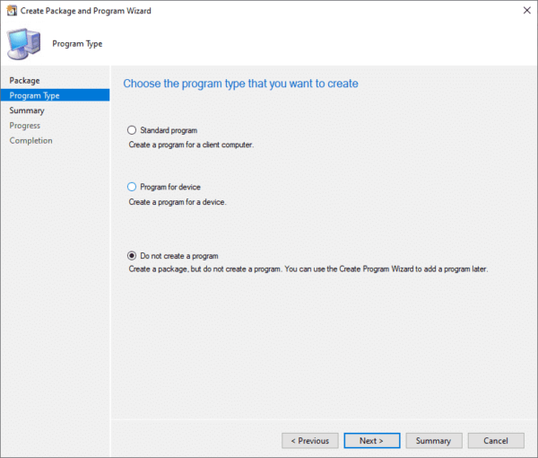 SCCM Package Do Not Create a Program