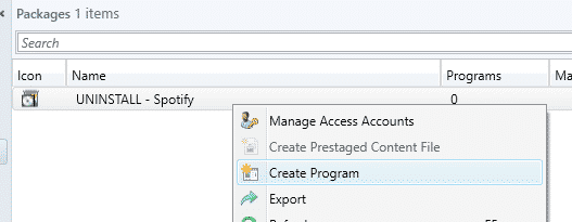 SCCM Create Package Program