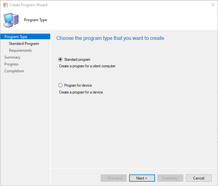 SCCM Package Standard Program