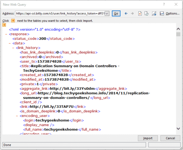 Excel-Data-Import-From-Web-Bitly-XML 1
