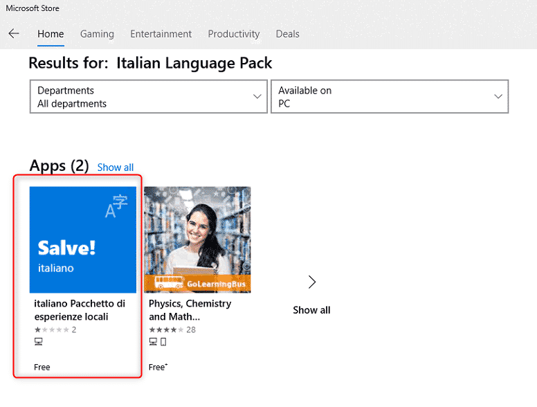 Italian Language Pack in Microsoft Store