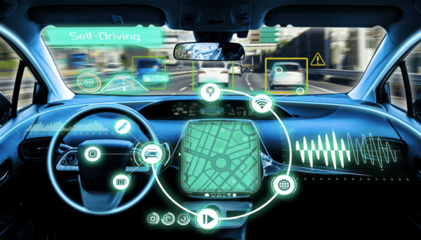 Inside of an electric car