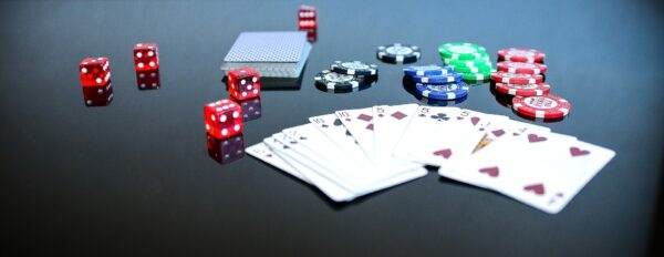 poker cards chips and dice