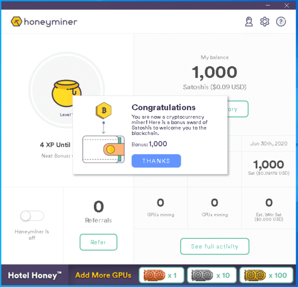 Honeyminer Utility Welcome