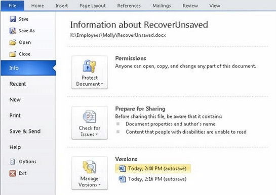 Two Ways to Successfully Recover Unsaved Word Document on Windows 4