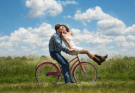 engagement couple romance on bike