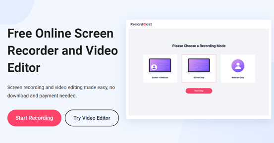 RecordCast Free Computer Screen Recorder Without Plugins and Software 1