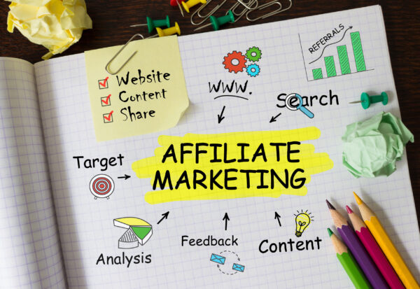 Notebook with Toolls and Notes about Affiliate Marketing,concept